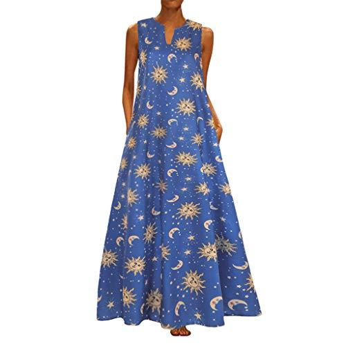 MAYOGO Kleid Damen Sommer Lang Elegant Schick Große Größen Ärmellose Maxikleid Schmetterling Muster Casual Cool Leichte Kleider mit Tasche S-5XL(Vintage Stil Freizeitkleider)