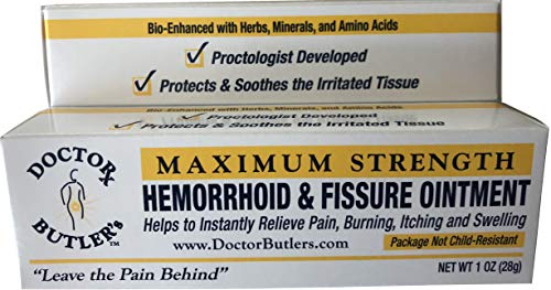 Doctor Butler's Hemorrhoid & Fissure Ointment with Lidocaine/Other Active Ingredients for Treatment and Relief of Pain, Itching & Swelling (+ Herbs, Minerals)