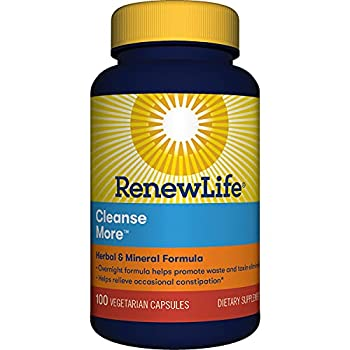 Renew Life Adult Cleanse More -Detox helps relieve occasional bloating and restore regularity Herbal & Mineral Formula-Overnight ConstipationRelief-Gluten Dairy & Soy Free-100 Vegetarian Capsules