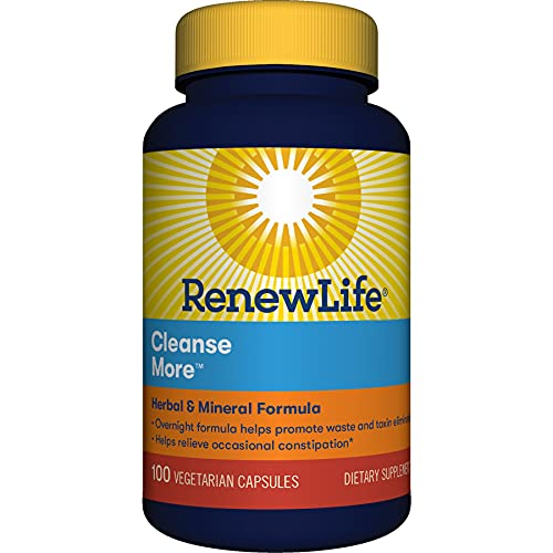Renew Life Adult Cleanse More -Detox, helps relieve occasional bloating and restore regularity, Herbal & Mineral Formula-Overnight ConstipationRelief-Gluten, Dairy & Soy Free-100 Vegetarian Capsules