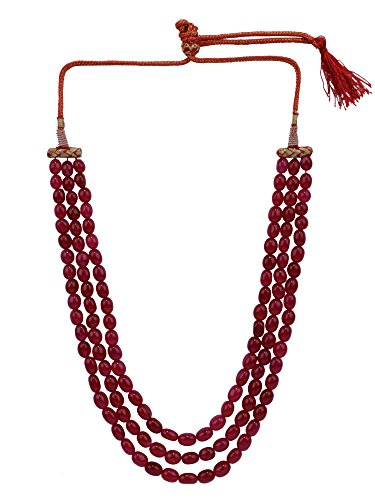Efulgenz Indian Multi Layered Bollywood Pink Faux Ruby Beads Wedding Bridal Necklace Jewelry for Women, Red