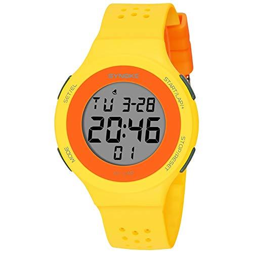Populares Marca Luxur yFashion Deporte Hombres Mujeres Impermeable Alarma Fecha Cronómetro Regalo del Reloj de Pulsera Digital (Color : Yellow)