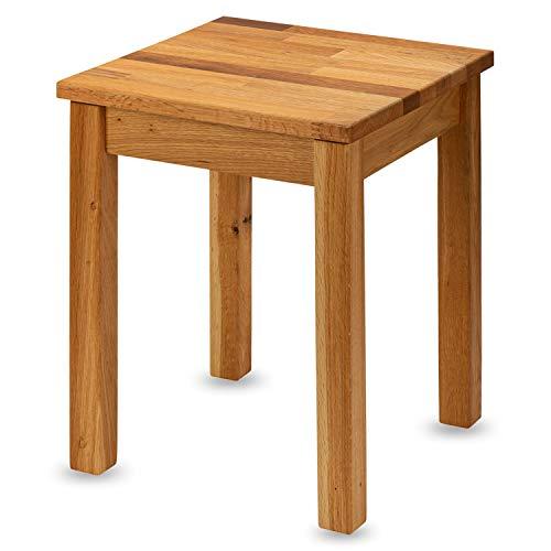 Staboos Eiche Sitzhocker Holz - Massiv Holzhocker bis 150 kg - Kerneiche Holz Hocker ohne Eingriff - als Nachttisch nutzbar - 35x35x45cm