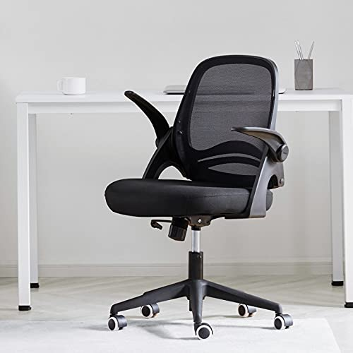 Hbada Home Office Chair, Ergonomic Desk Chair with Adjustable Height,Flip-Up Armrests,Rocking Chair with Lumbar Support, Soft Cushion, Swivel Task Chair, Black