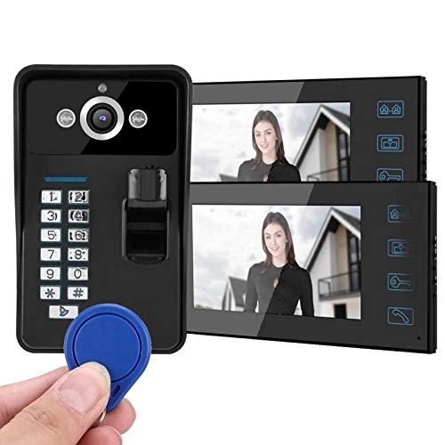 AMONIDA 100-240V Videoportero Timbre Inteligente Huella Digital 2 Monitor Sistema de Acceso de Timbre con Cable Timbre de(European regulations)