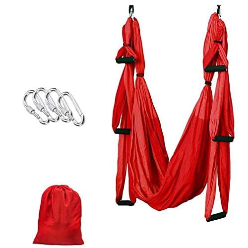 Sanfiyya Yoga Hamaca aérea Swing Set Yoga Trapecio Volante Conjunto con mosquetones de Yoga Pilates Anti-Gravedad para Mejorar la flexibilidad y la Fuerza de la Base roja