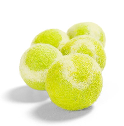 Twin Critters TennisWools - All Natural Cat Toys and Tennis Balls for Small Dogs - 5 Pack - 100% Merino Wool (Yellow Green)