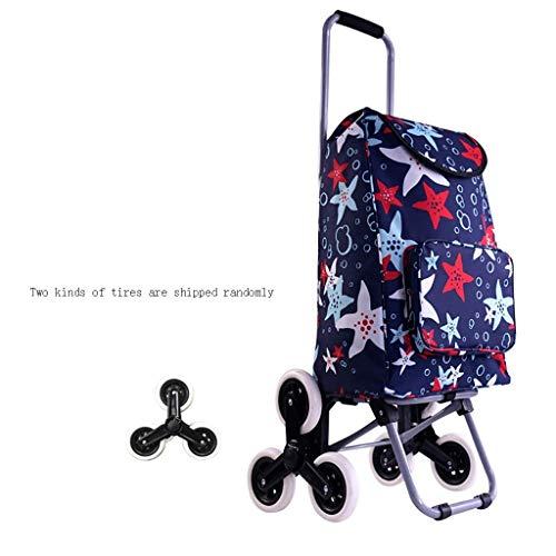 ZYC-WF Shopping Carts Für Lebensmittel Mit Rädern Faltbare Ältere Haushalt Pull Rod Beweglicher Wagen Kann Nach Oben Gehen/B