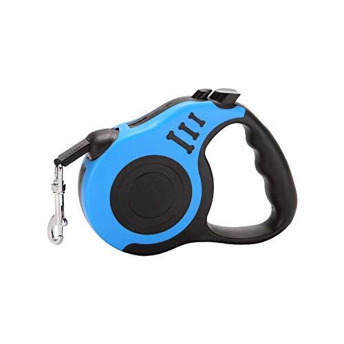 MAILESPET Rollleinen für Hunde 3m/5m Rollleinen Anti-Rutsch Griff mit Brems/Knopfarretierung Hundeleine Blau