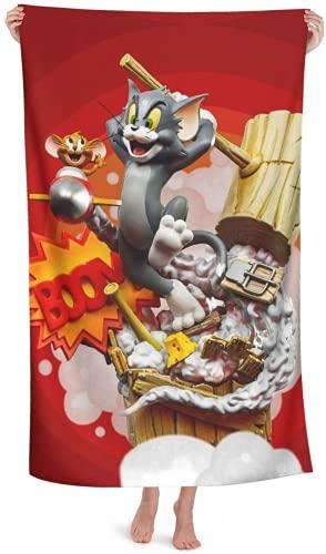 QWAS Toalla de secado rápido con diseño de Tom Jerry de dibujos animados, ligera, suave, para piscina, natación, viajes, silla de playa (3,80 x 180 cm)