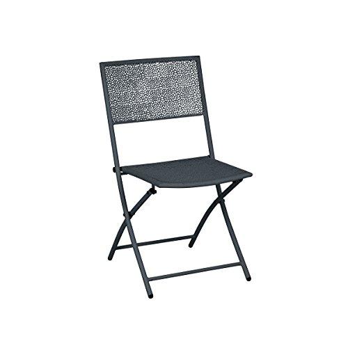 greemotion Chaise de jardin pliante Mykonos - Lot de 2 chaises - chaise design moderne grise anthracite - Chaise métal confortable et solide pour l'extérieur