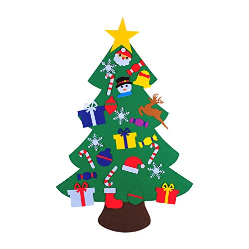 ShaggyDogz DIY Felt Christmas Tree Set with 26 Ornaments for Kids, Xmas Gifts, New Year Door Wall Hanging for Christmas Decorations (stysle 1)