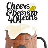 40 Birthday Cake Topper,Cheers & Beers to 40 Years Cake Topper,40th Birthday Wedding Anniversary...