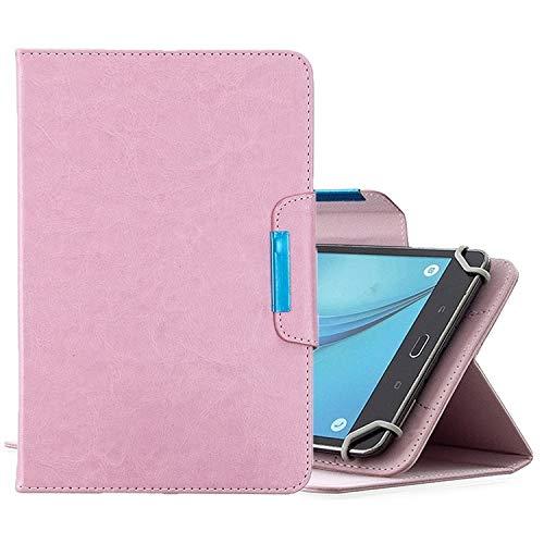 WEI RONGHUA Funda de piel con tapa horizontal para tabletas de 10 pulgadas, universal, color sólido, con ranuras para tarjetas, soporte y cartera, universal, color rosa