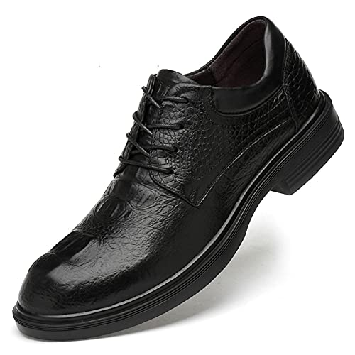 JieKrui Zapatos Oxford Hombre, Zapatos de Uniforme Negocios Moda Cuero Blanda Cordones...