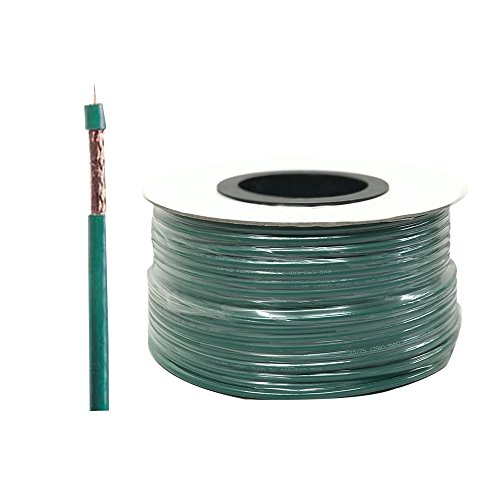 Coaxial Cable KX6 100 meter multi-strand core pure copper 7x0.2 mm, polyethylene PE dielectric, shielding braided copper 80%, PVC external outer jacket color green. CCTV Cable.