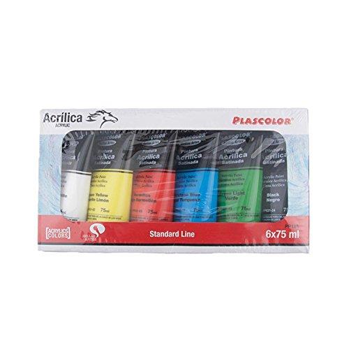 Plascolor PP185 - Pack de 6 tubos de pintura acrílica, multicolor
