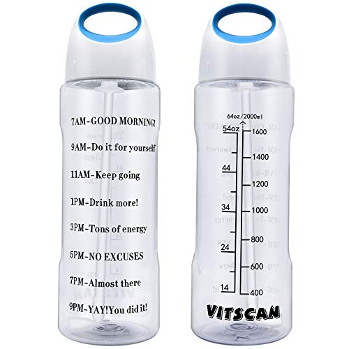 64 OZ Water Bottle with Straw Half Gallon Water Bottle with Time Marker Motivational Water Bottle Wide Mouth Water Jug for Sports Water Bottle BPA Free 2L Water Bottles Large Water Bottle with Handle