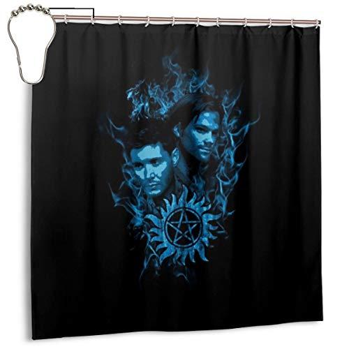 GSEGSEG Wasserdichter Polyester-Duschvorhang Sam and Dean Blue Flame Supernatural Print Dekorativer Badezimmer-Vorhang mit Haken, 182,9 cm x 182,9 cm