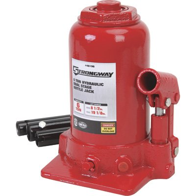 Strongway 6-Ton Hydraulic High Lift Double Ram Bottle Jack