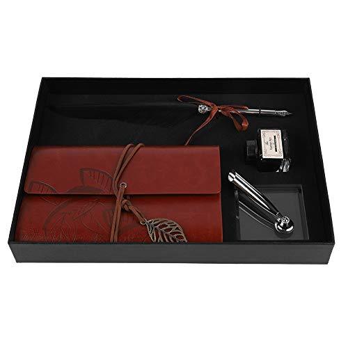 Retro Leder Notizbuch mit Feder Dip Pen, Retro Reisende Notebook Vintage Antik Füllfederhalter Ink Bottle Set, Briefpapier Geschenkbox(Schwarz)
