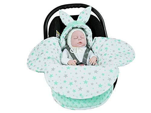 EliMeli Baby Einschlagdecke Babyschale Winter - Grün Mädchen Junge Decke Universal für Autositz, Kinderwagen Buggys und Babybett, Premium Qualität - Design Minky (Mint - Mint Stars)