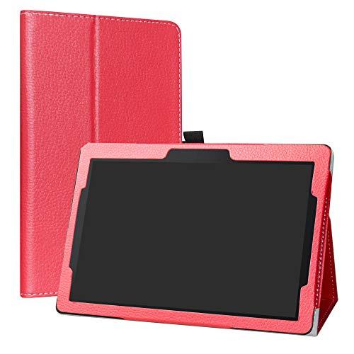 """Labanema Lenovo Tab E10 Funda, Slim Fit Carcasa de Cuero Sintético con Función de Soporte Folio Case Cover para 10.1"""" Lenovo Tab E10 2018 Tablet - Rojo"""