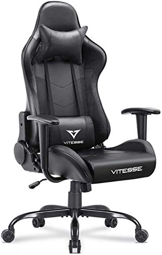 Vitesse Gaming Chair Sillas Gaming Racing Style Computer Gaming Chairs for Adults Ergonomic Desk Comfortable Chair High Back Swivel Executive Leather Chair with Lumbar Support and Headrest(Black)