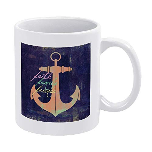 N\A 11 Unzen weiße Kaffeetassen, Carbon Black Nautical Anchor Keramik Schokoladenbecher für Frauen, Chef, Freund, Angestellter oder Ehepartner