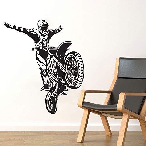 HNXDP Dirt Bike Motorrad Wandaufkleber Motocross Stunt Wandtattoos Wohnkultur Wohnzimmer Tapete Kinder Jungen Zimmer Dekoration 68cmx59cm