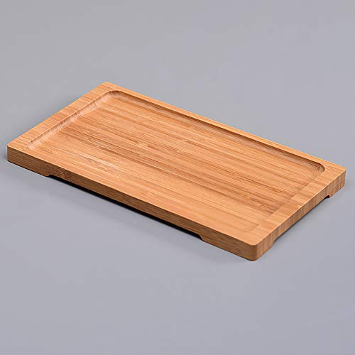 Nileco Bamboo Serving Tray,Multi-functional Serving Platters,Rectangle Round Decorative Plate,Wooden Serving Tray Dinner Home Decoration-D 32x18x2cm(13x7x1inch)