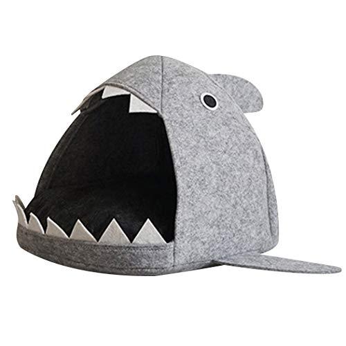 Bangcool Katzenhöhle, süßer Hai, weicher Filz, kreativ, waschbar, Katzenbett