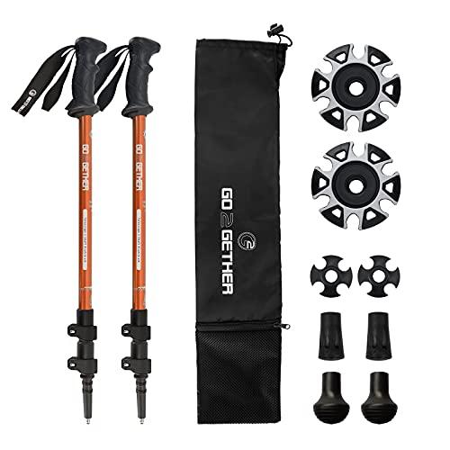 Bastones telescópicos para senderismo o senderismo, aleación de aluminio, mango cómodo BMM, correa ajustable y cierre rápido para nieve, 2 postes (naranja y negro)