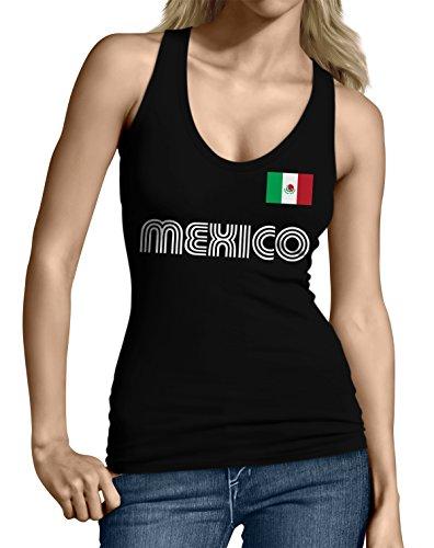 SpiritForged Apparel Mexico Soccer Jersey Junior's Tank Top, Black Small