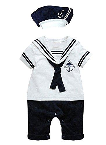 Grenouillère Le SSara, à manches courtes avec motif ancre, pour bébé, garçons, filles B-White 0-6 mois