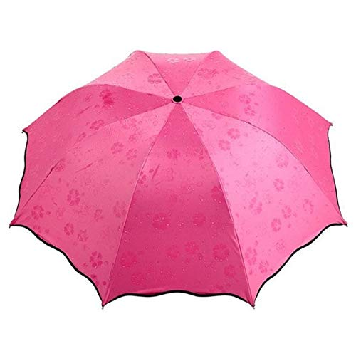 ZGMMM Bloemen Koepel Parasol Zon/regen Vouwen Paraplu Prain Vrouwen Transparante Paraplu Voor Vrouwen Rood