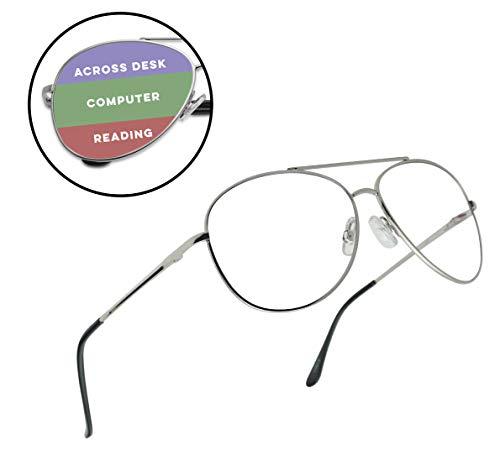 Classic Aviator Multi Focus 3 Powers in 1 Reading Multifocal Asymptotic Eye Glasses - Durable Metal Frame (Silver, 3.00)
