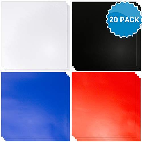 Vinyl Vellen met Lijm [20 Pack] Blauw, Rood, Zwart & Wit Permanent Zelfklevende Vinyl Vellen Zoals Oracle 651 Vinyl Rolls. Permanent Vinyl voor Cricut, Silhouette en meer. Vinyl voor binnen en buiten