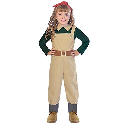 amscan 9903588 - Disfraz de casera con lazo rojo para niños (7-8 años), color marrón y verde