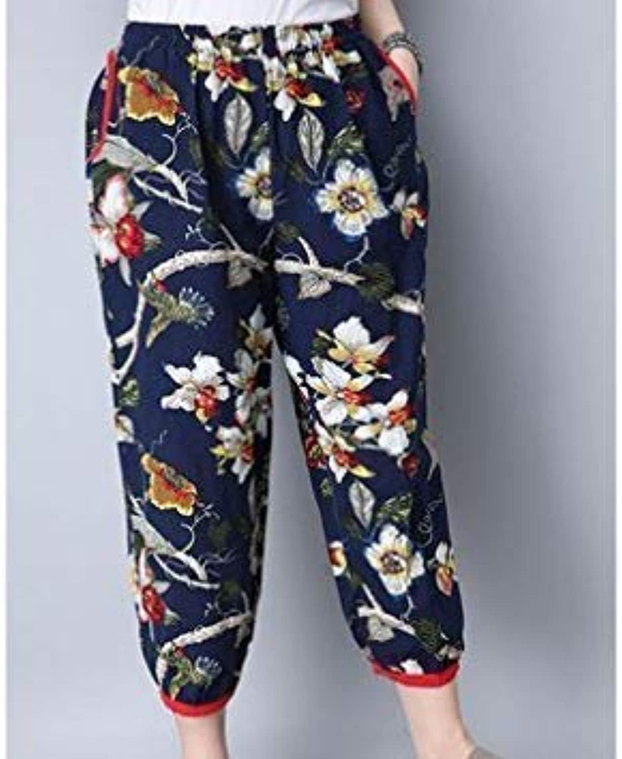Women Yoga Pants Original Oversized Loose Elastic Printing Waist Cotton Linen Bloomers Nepal Style - XL Navy