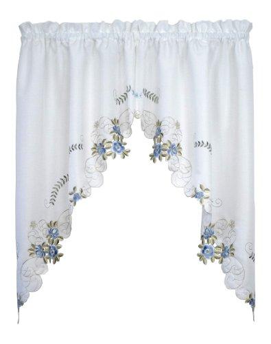Today's Curtain Verona Reverse Embroidery Window Swag, 38-Inch, White/Blue - Verona CA50304P
