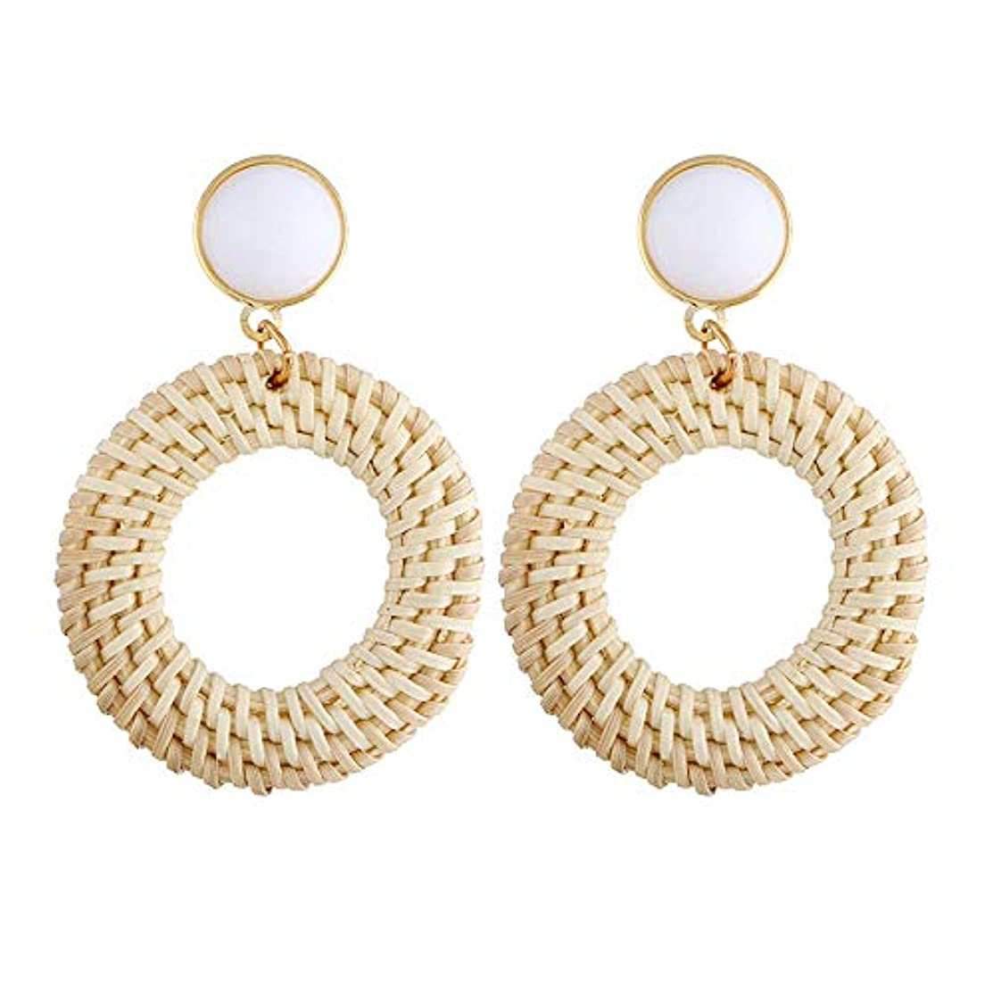 Rattan Earrings for Women Bohemian Woven Handmade Statement Earrings for Girls Mothers Day Gifts