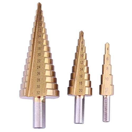 Buyshop 3Pc Step Drill Bit Set Cone Hole Cutter Taper Metric 4-12/20 / 32mm 1/4 inchTitanium Coated Triple-cornered Taper