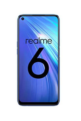 """realme 6 – Smartphone de 6.5"""", 4 GB RAM + 64 GB ROM, Procesador OctaCore, Cuádruple Cámara AI 64MP, Dual Sim, Color Comet Blue [Versión ES/PT]"""