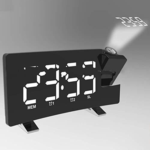 SGSG Projektionswecker, Helligkeitseinstellung Elektronische LED-Großbildanzeige HD Digitaler Projektionswecker Funkuhr, USB-Anschluss zum Aufladen Ihres Telefons, grün