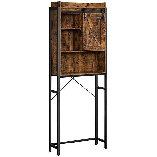 VASAGLE COBADO Over-The-Toilet Storage Cabinet, Space-Saving Bathroom Oragnizer Rack, with Cupboard and Shelves, Steel Frame, Industrial, Rustic Brown and Black UBTS003B01