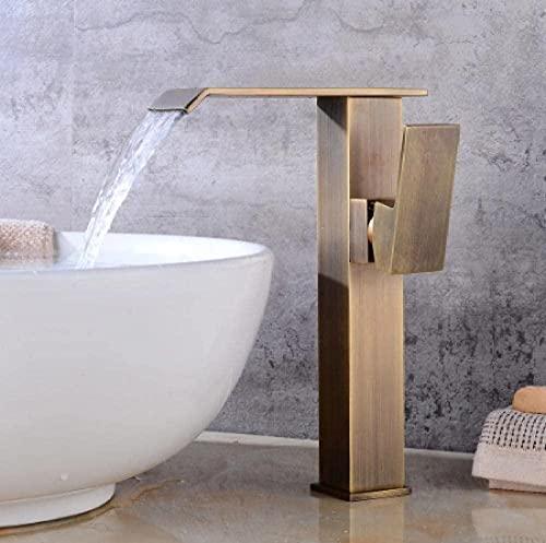 TQXYWL, grifos de cocina, grifo de fregadero, fregadero de baño, cascada, grifo alto, grifo de lavabo, grifo de latón antiguo, fregadero de grúa de mercurio