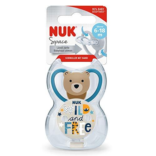 NUK Space - Juego de chupete y cadena para chupete, 6-18 meses,...