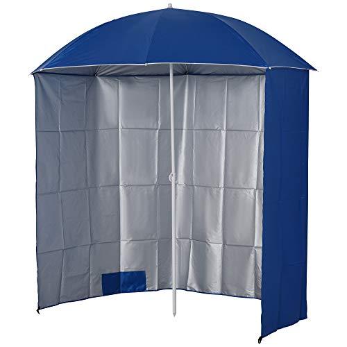 Outsunny Sonnenschirm Strandschirm Sonnenschutz mit Seitenwand Strand Polyester Blau 2,2 x H2,2m