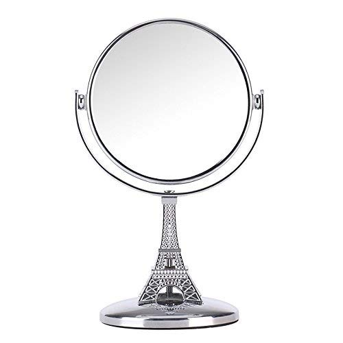 Romantic Modeling of the Eiffel Tower,Mini Travel Makeup Mirror 3.7-inch Tabletop Two-sided Swivel Vanity Mirror with 5x Magnification,360 Degree Rotation Stand Cosmetic Mirror,5.9-inch Height